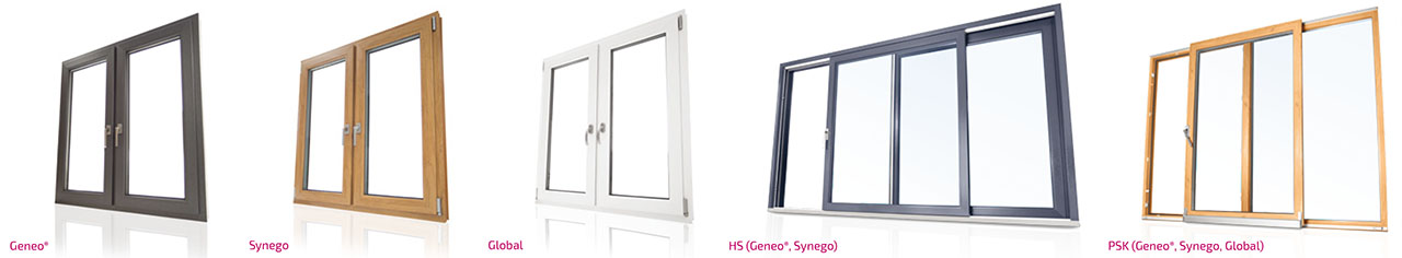 Bilder unseres Sortments Rehau Fenster und Schiebeanlagen - Global 70, Synego 80, Geneo 86, Schiebeanlagen PSK und HS