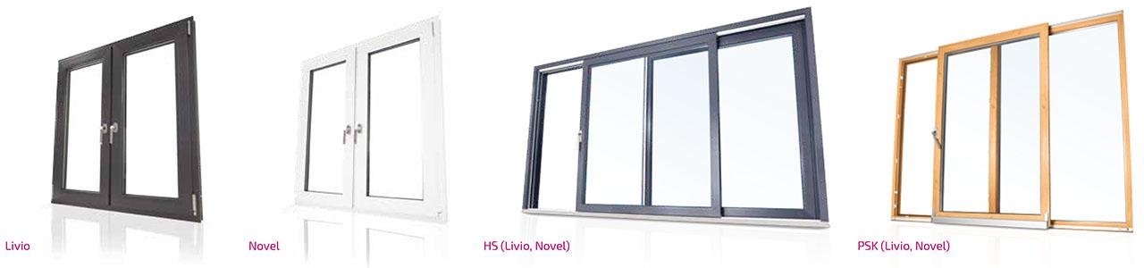 Portfolio: Schüco Fenster und Schiebeanlagen - Livio, Novel, HS, PSK