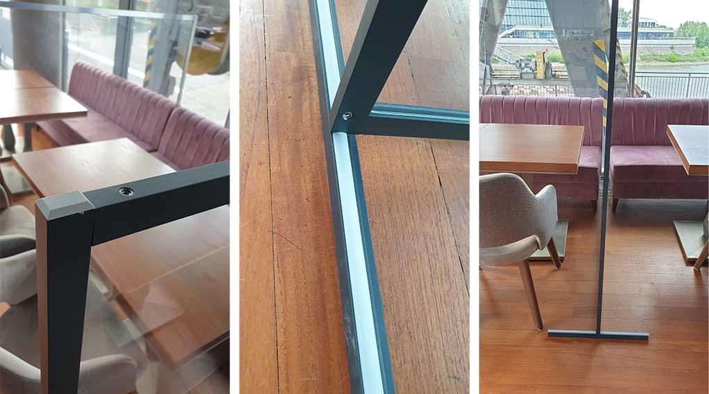 Raumteiler transparent für Gaststätten - Trennwand aus Plexiglas für Restaurants - Hygienewand für die Gastronomie Detail.